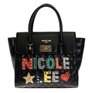 NICOLE LEE PATCH QUILTED SATCHEL BAG